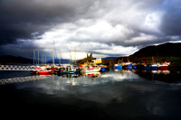 Kyleakin Harbour and Dark Skies. Isle of Skye. Scotland.