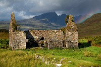Kilchrist Ruin and Blaven . Rainbow. Isle of Skye. Scotland.