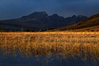 Blaven, black sky sun on reeds. Torrin. Isle of Skye. Scotland.
