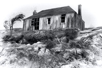 Isle of Scalpay. Cottage in Charcoal. Eilean Siar. Scotland.