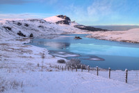 Old Man of Storr in Winter, across Loch Fhada. Trotternish. Isle of Skye. Scotland.