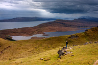 Old Man of Storr, view to Raasay and mainland. Trotternish. Isle of Skye. Scotland.