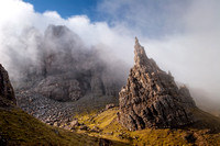 Old Man of Storr rock pinnacles, mists. Trotternish. Isle of Skye. Scotland.