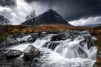 Buachaille Etive Mor. River Coupall in Spate. Glen Etive. Highland Scotland. Mono