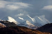 Five Sisters of Kintail and February Light. Skye and Lochalsh. Highland Scotland.