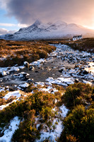 Sligachan. Allt Dearg Cottage and snow. Isle of Skye. Scotland.