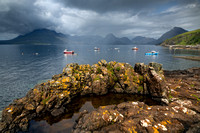 Elgol. Summer Rain passes over the Cuillins. Isle of Skye. Scotland.