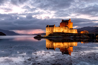 Eilean Donan Castle at night. Loch Duich. Highlands of Scotland.