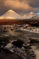Glamaig last light of the day, February. Sligachan. Isle of Skye. Scotland.