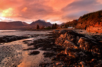 Applecross Hills from Ardarroch. Sunset at Low Tide in Winter. Wester Ross. Highland Scotland.