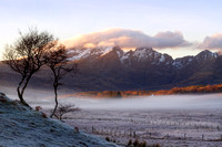 Blaven as Sun sets. Winter Mist. Torrin. Isle of Skye. Scotland.