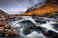 Glen Etive. The River in January. Near Alltchaorunn. Highland Scotland.