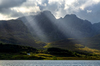 Blaven Sunbeams in Summer. Across Loch Slapin. Isle of Skye. Scotland.