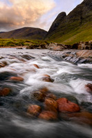 Glen Etive river scene . West Highlands of Scotland.