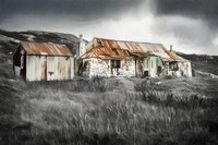Golden Road . Cottage Ruin. Loch Fhionnsabaigh .  Harris. Digital Art.