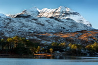 Liathach. Snow and Pines. Loch Clair. Torridon. Wester Ross. Scotland.