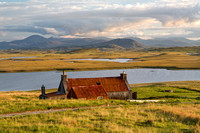 Achmore, View and Cottage. The Lochs. Isle of Lewis. Scotland.