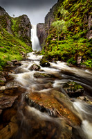 Wailing Widow falls in Summer Spate.  Highland Scotland. PF.