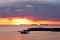 Coigach Sunset. Across Foxes Point and to Outer Isles. Highland Scotland.