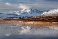 Blaven, snow and reflection. Lochan Cill Chriosd. Isle of Skye. Scotland.