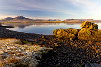 Ashaig Beach. The Cuillin on a Winter Morning. Isle of Skye. Scotland.