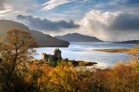 Eilean Donan Castle, in Autumn from Carr Brae. Skye and Lochalsh. Scotland.