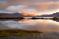 Beinn Sgritheall. From Camuscross, reflection at Sunset. Winter. Sleat Peninsula. Isle of Skye. Scotland.