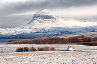 Suilven and Snow. From Braes of Achnahaird. Coigach. North West Highlands. Scotland.